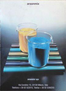 """1990 - Arsonsisi SpA. Poster pubblicitario: vernici in polvere """"arsonmix""""."""