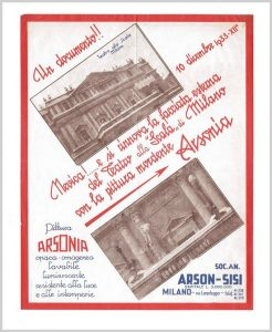 1933 Leaflet of pittura ARSONIA paint for Teatro alla Scala Milan.