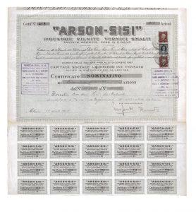 1947 - Certificato azionario ARSON-SISI.