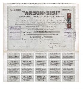 1947 ARSON-SISI Stocks certificate