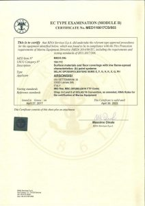 RINA certifications MED B-D for Arsonsisi epoxy-polyesters