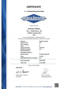 Certificati Qualicoat per poliesteri Arsonsisi serie J57