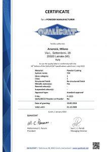 Certificati Qualicoat per poliesteri Arsonsisi serie Y54